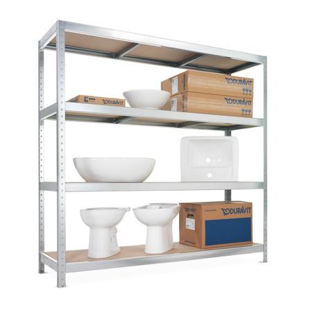 Regál s velkým rozpětím META, s dřevotřískovými deskami, nosnost regálu až 500 kg