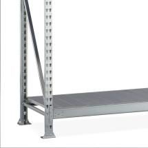 Regál s velkým rozpětím META, s ocelovými deskami, nosnost regálu 600 kg, přídavné pole