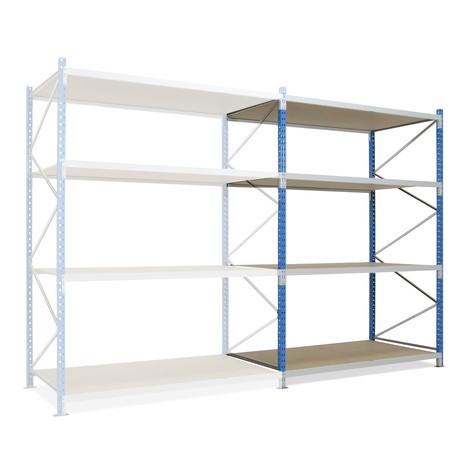 Regál s velkým rozpětím, s dřevotřískovými deskami, přídavné pole, blankytně modrý/světle šedý
