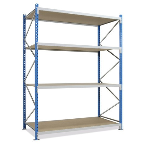 Regál s velkým rozpětím, s dřevotřískovými deskami, základní pole, blankytně modrý/světle šedý