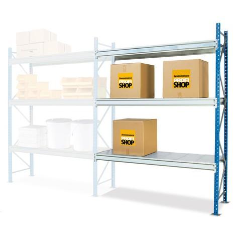 Regál s velkým rozpětím, s ocelovými deskami, přídavné pole, nosnost regálu až 880 kg
