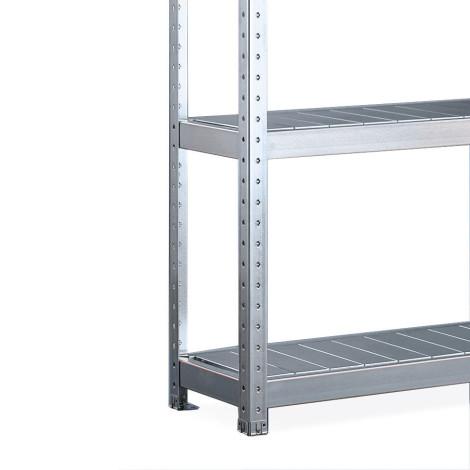 Regál sveľkým rozpätím META, soceľovými doskami, nosnosť regálu je až 500 kg
