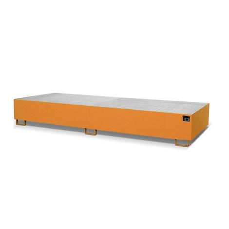 Regalbodenwanne, HxBxT 355 x 1.300 x 3.550 mm, Auffangvolumen 1.000 l, inkl. Gitterrost, lackiert