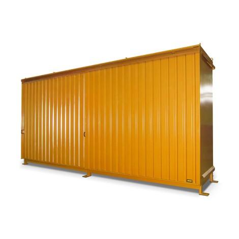 Regalcontainer für 12x KTC/IBC, 2 Ebenen, 2 Schiebetüren