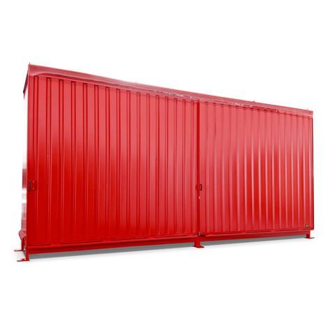 Regalcontainer für 12x KTC/IBC, 2 Ebenen, 2 Schiebetüren, Führungsschiene