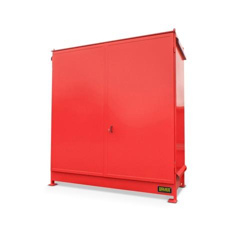 Regalcontainer für 4x KTC/IBC, 2 Ebenen, 2 Flügeltüren