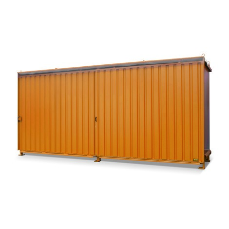 Regalcontainer für 8x KTC/IBC, 2 Ebenen, 2 Schiebetüren, Führungsschiene