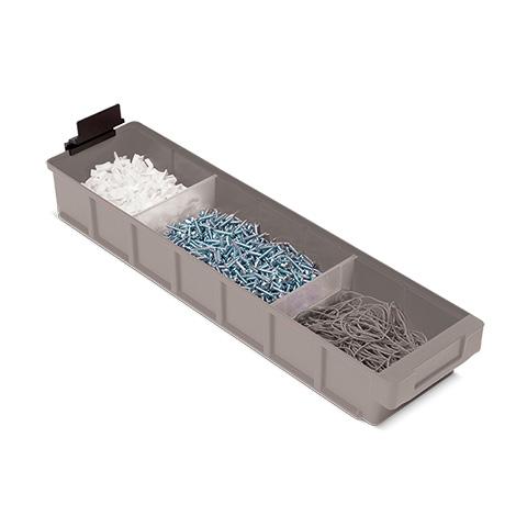 Regalkasten aus Polypropylen. Außenmaß 600 x 93 x 83 mm (LxBxH)