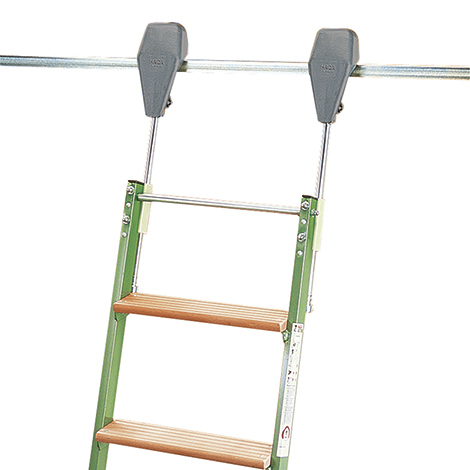 Regalleiter mit Rollen. Arbeitshöhe bis ca. 3,62 m