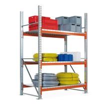 Regál sveľkým rozpätím META, soceľovými doskami, základné pole, pozinkovaný/červeno-oranžová farba