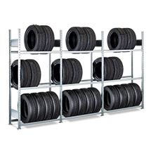 Reifenregal-Komplettpaket, 3 Felder mit je 3 Traversenpaaren, verzinkt, Fachlast bis 150 kg