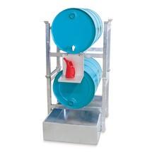 Stellinglekbak asecos® van staal, voor vatenstellingen