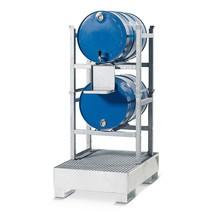 Stellinglekbak asecos® van staal, voor vatenrekken, onderrijdbaar