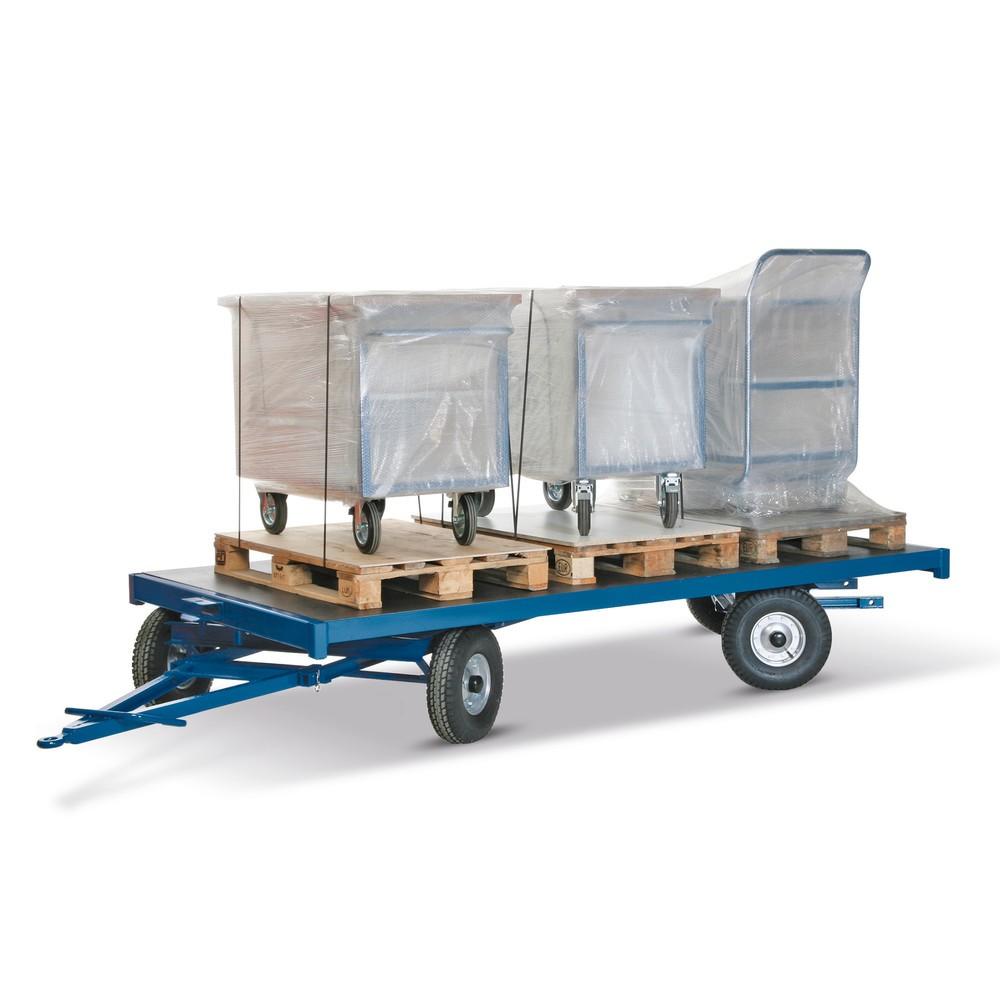 Remorque industrielle, 2 essieux directionnels, surface de chargement 2000 x 1000 mm, capacité de charge 1500 kg, caoutchouc plein
