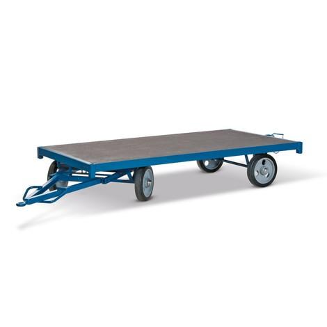 Remorque industrielle, direction mono-essieu, surface de chargement 3000 x 1500 mm, capacité de charge 5000 kg, caoutchouc plein