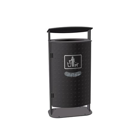 RENNER Abfallbehälter mit abgeschrägter Haube Typ 7092, 70 Liter, Noppenblech-Design
