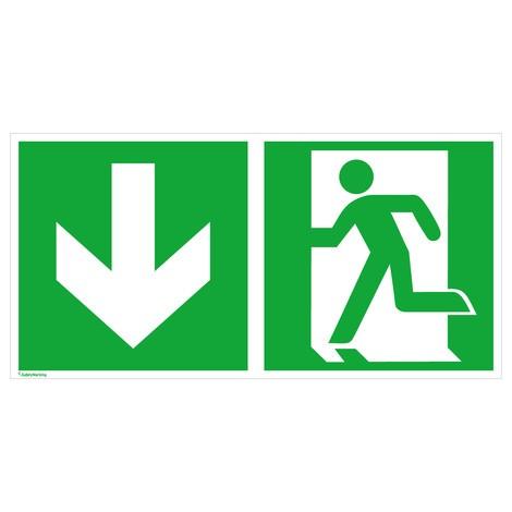 Rettungszeichen – Notausgang links, Pfeil abwärts