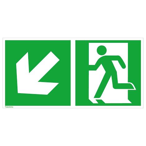 Rettungszeichen Notausgang links (Pfeil abwärts)