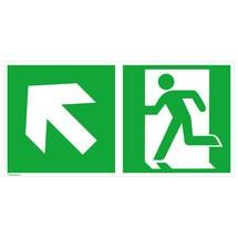 Rettungszeichen – Notausgang links, Pfeil links aufwärts