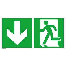 Rettungszeichen Notausgang links (Pfeil nach unten)