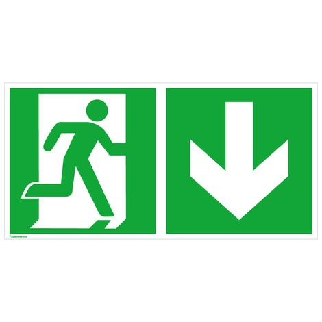 Rettungszeichen – Notausgang rechts, Pfeil abwärts
