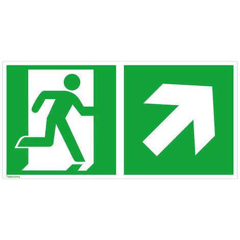 Rettungszeichen Notausgang rechts (Pfeil aufwärts)