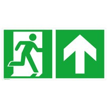 Rettungszeichen – Notausgang rechts, Pfeil aufwärts/geradeaus