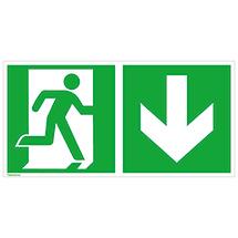 Rettungszeichen Notausgang rechts (Pfeil nach unten)