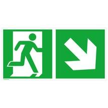 Rettungszeichen – Notausgang rechts, Pfeil rechts abwärts