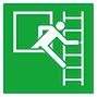 Rettungszeichen Notausstieg, Fluchtleiter links/rechts