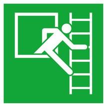 Rettungszeichen – Notausstieg, Fluchtleiter rechts