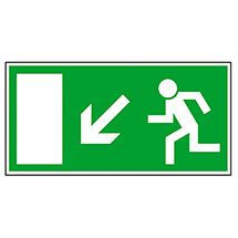 Rettungszeichen Rettungsweg links abwärts