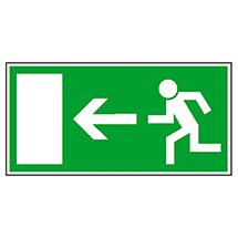 Rettungszeichen Rettungsweg links (Männchen läuft zur Tür)