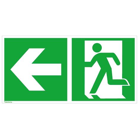 Rettungszeichen Rettungsweg links (Männchen steht in Tür)