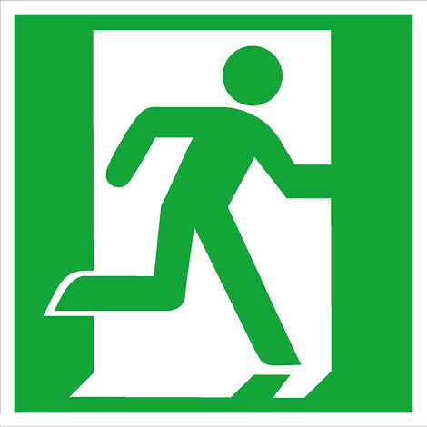 Rettungszeichen Rettungsweg/Notausgang rechts (ohne Pfeil)