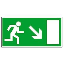 Rettungszeichen Rettungsweg rechts abwärts