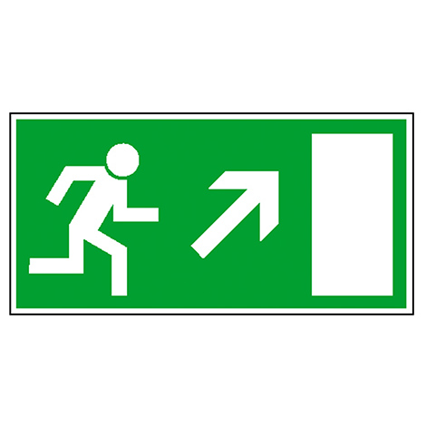 Rettungszeichen Rettungsweg rechts aufwärts