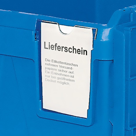 Reusable polypropylene stacking container including label slot