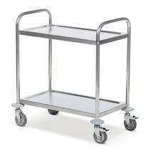 Roestvrijstalen serveerwagen BASIC. 2 etages. Capaciteit 100 kg