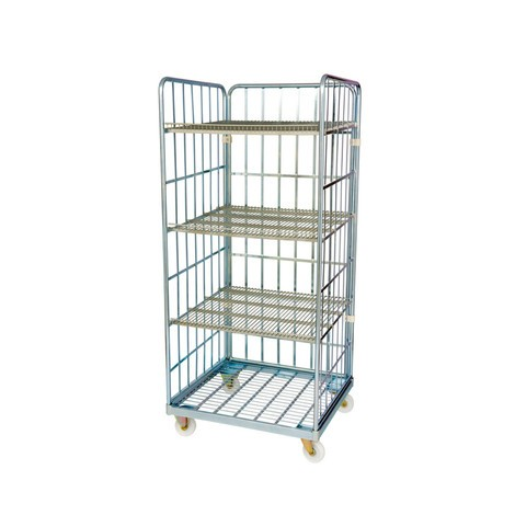 Roll container, 3-sided, 3 shelves, steel platform dolly