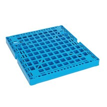 Roll container, 4-sided, half hinged front wall, plastic platform dolly, HxWxD 1,650 x 724 x 815 mm