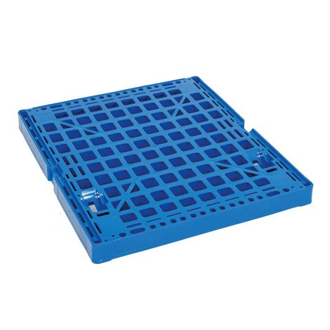 Roll container, 4-sided, half hinged front wall, plastic platform dolly, HxWxD 1,850 x 724 x 815 mm