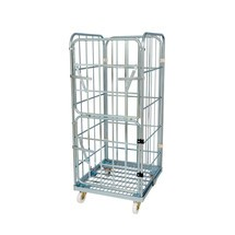 Roll container, 4-sided, half hinged front wall, steel platform dolly