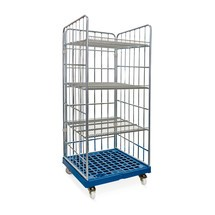 Roll rack, 3-sided, 3 shelves, plastic platform dolly, HxWxD 1,750 x 724 x 815 mm