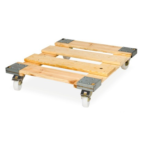 Roll rack, 3-sided, 3 shelves, wooden platform dolly