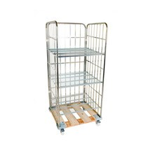 Roll rack, 3-sided, 3 shelves, wooden platform dolly