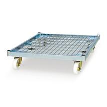 Rollbehälter, 4-seitig, halb abklappbare Vorderwand, Stahl-Rollplatte