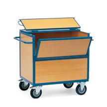 Rollbehälter fetra® geschlossen aus Holzwerkstoff mit Deckel
