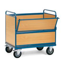 Rollbehälter fetra® geschlossen aus Holzwerkstoff. Oben offen