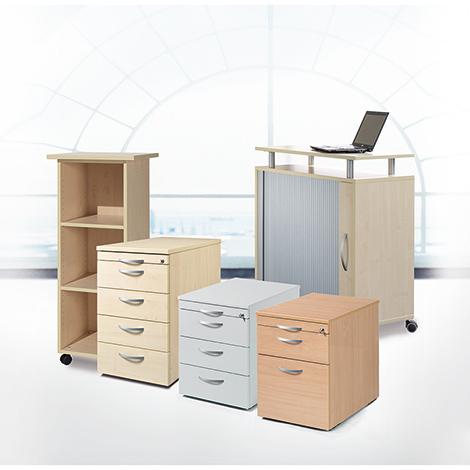 Rollcontainer. 1 ausziehbares Materialfach, 1 Schublade, 1 Hängeregistratur